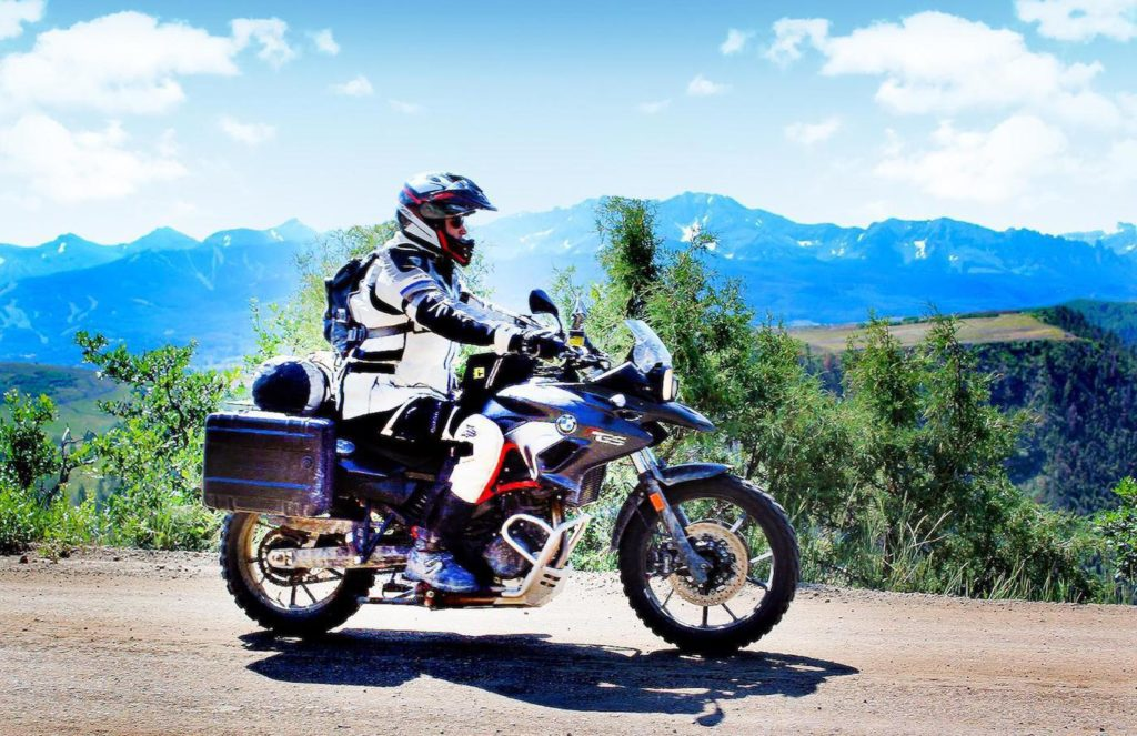 BMW F700GS motorcycles with Verio adjustable side-bags and Wolfman-tank-bags